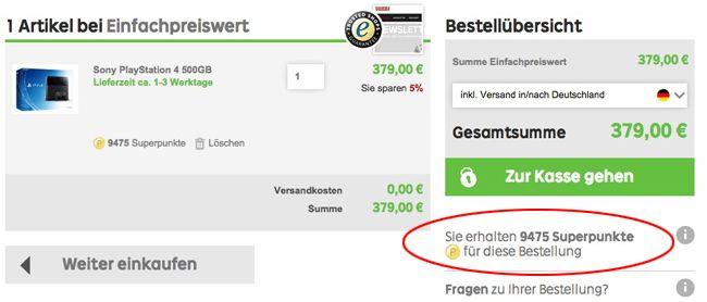 Rakuten Warenkorb Kracher! 25 fache Superpunkte bei Rakuten   z.B. PlayStation 4 mit 500GB für effektiv 284,25€