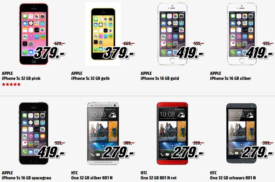 Apple iPhones 5S  für 419€   HTC One M7 32GB für 279€   Top Smartphones im Media Markt Ausverkauf