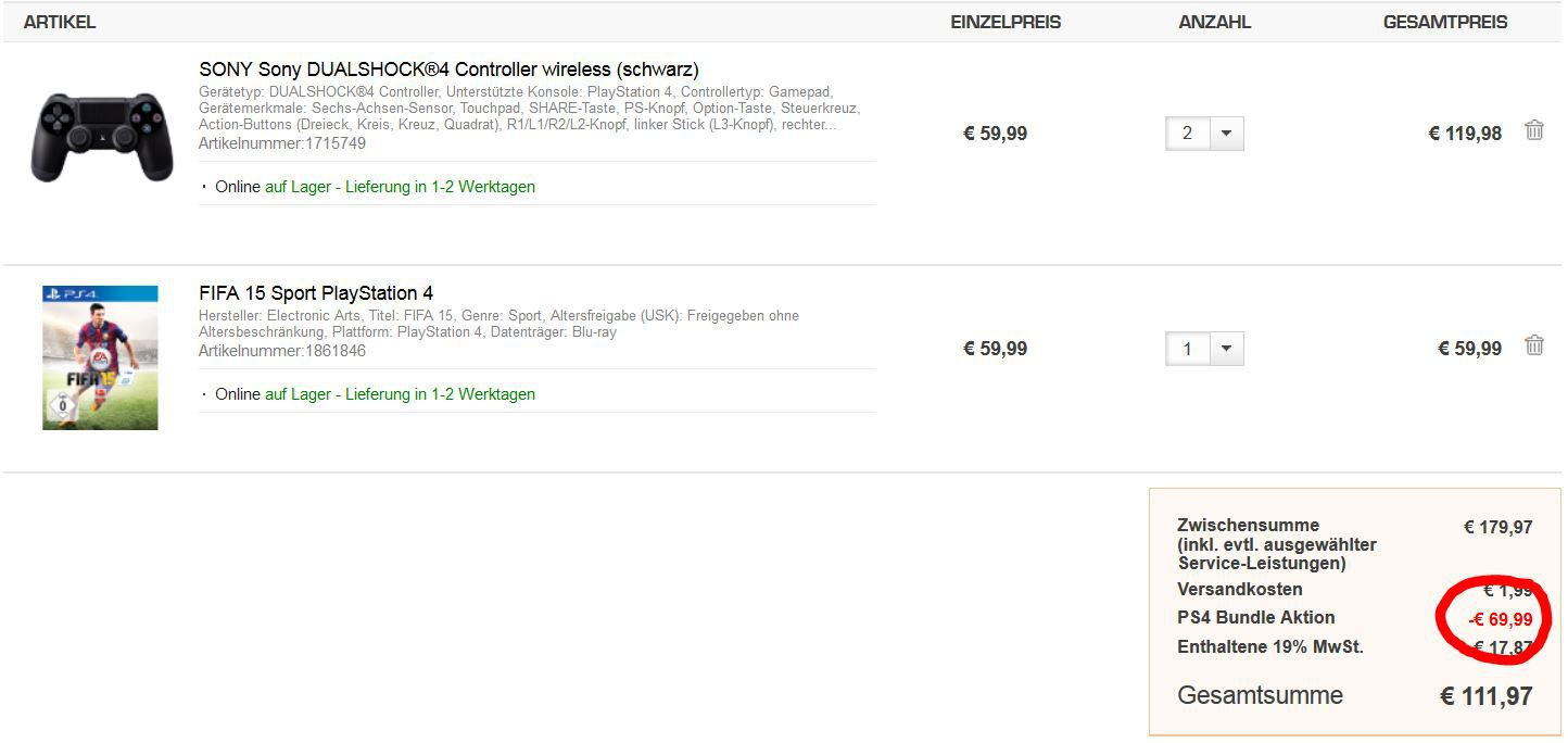 Saturn PS4 2 x SONY PlayStation 4 Controller mit Fifa 15 im Bundle für nur 111,97€