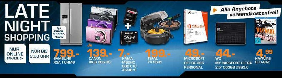 Saturn late night CANON IXUS 265 HS Digitalkamera statt 171für 139€ – und mehr Saturn Late Night Sale Angebote