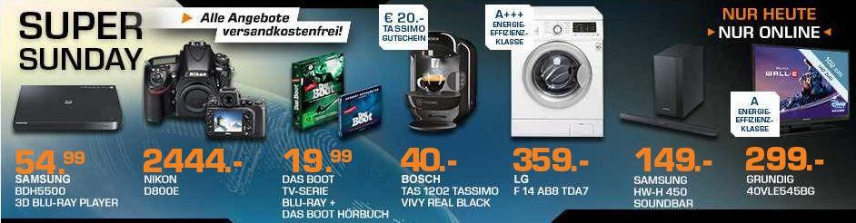 Saturn super Sunday2 BOSCH Tassimo TAS1202 real black statt 47€ für effektiv 20€ dank Cashback und mehr Saturn Super Sunday Angebote