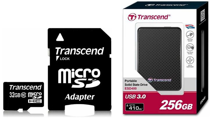 Transcend 32GB Speicherkarte mit SD Adapter Class 10 ab 13,90€   Transcend externe SSD Festplatte 256GB für 119,90€
