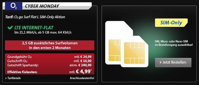 o2 go Surf Flat L plus 24   5GB Datenflat für effektiv 4,99€ monatlich