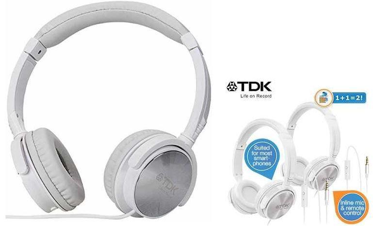 TDK ST170   Over Ear Kopfhörer mit Mikro und Fernbedienung im Duo Pack für 30,90€