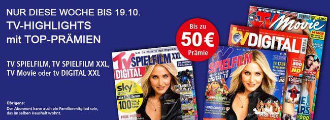 Günstige TV Zeitschriften als Jahresabo mit Prämie   z.B. TV Movie für effektiv 9,60€