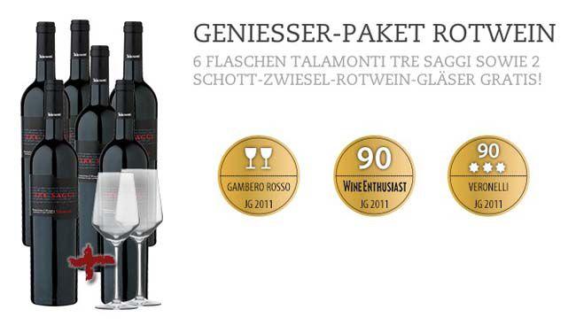 Talamonti Tre Saggi 2011 6 Flaschen Talamonti Tre Saggi 2011 Rotwein + 2 Weingläser für 55,95€