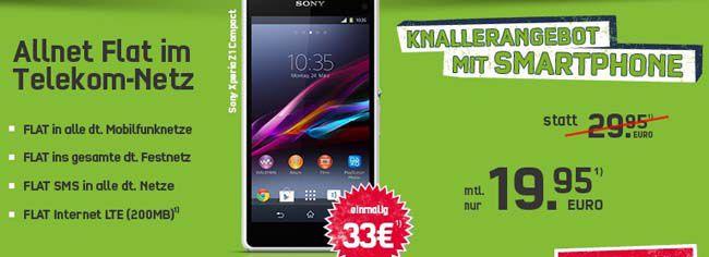 Telekom Allnet Flat + SMS Flat + LTE Flat + Smartphone für nur 19,95€ monatlich