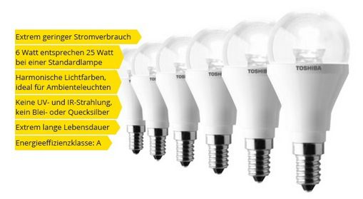 Toshiba LED Lampe 6W E14 Toshiba LED Lampe 6W E14 Warmweiß im 6er Pack für 14,90€