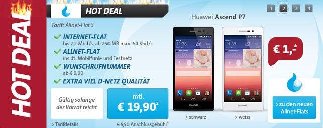 Vodafone Allnet Flat S für 15,40€ monatlich oder mit Huawei Ascend P7 Smartphone für 20,44€ monatlich
