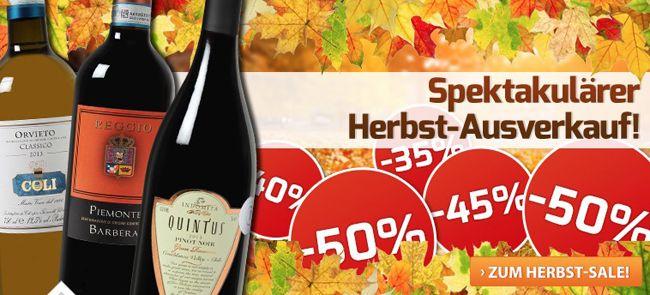 Weinvorteil Herbstausverkauf Weinvorteil Herbst Ausverkauf mit bis zu 50% Rabatt + Gutscheine