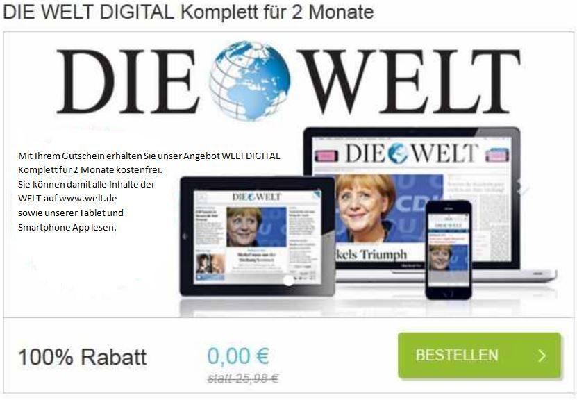 Kostenlos! Die WELT digital   im Web oder per App   8 Wochen gratis!
