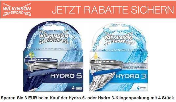 Hydro 5  oder Hydro 3 Klingenpackung (4 Stück) günstig je mit 3€ Rabatt