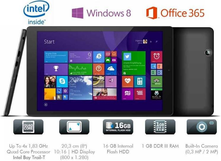 Odys Wintab 8   8 Zoll Windows 8.1 Tablet mit 16GB für 69€
