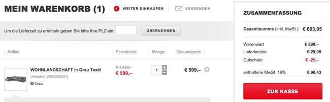 XXXL Shop: Für mind. 150€ bestellen und 50€ Gutschein einlösen