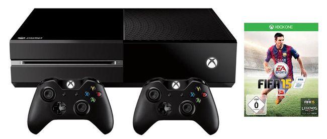 Xbox One Bundle Xbox One (ohne Kinect) 500GB + FIFA 15 + 2 Controller + Headset + 1 Monat Xbox Live Gold + HDMI Kabel für 369,99€ mit 0% Finanzierung über 12 Monate