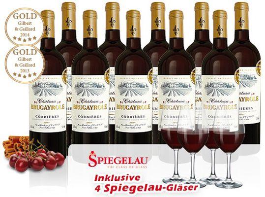 ebrosia Brugayrole Hammer! 10 Flaschen Château Brugayrole + 4 Gläser für 34,90€