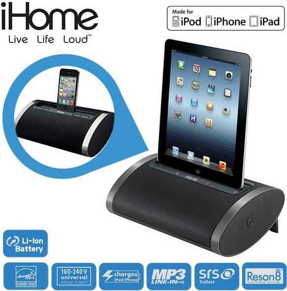 iHome iHome ID 48   tragbarer und wiederaufladbarer Lautsprecher mit 30 Pin iOS Anschluss für 45,90€
