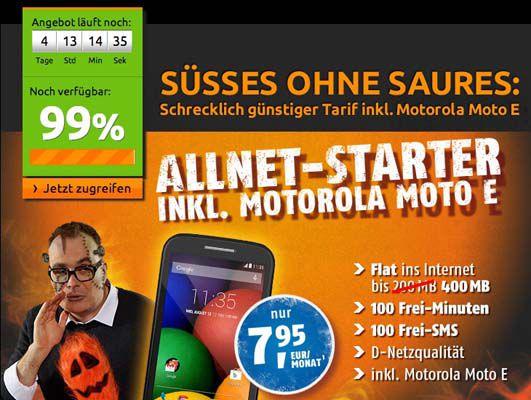 klarmobile Allnet Starter  klarmobile Allnet Starter Tarif (400MB, 100 Minuten und SMS) + Motorola Moto E für 7,95€ monatlich