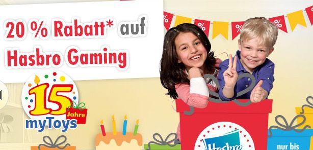 myToys Hasbro  20% Rabatt auf Hasbro Spiele bei myToys + 10€ Gutschein + 3€ Newsletter Rabatt
