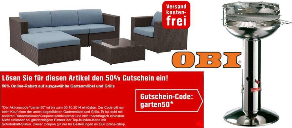OBI Sale mit 50% Rabatt auf ausgewählte Grills und Gartenmöbel   Top!