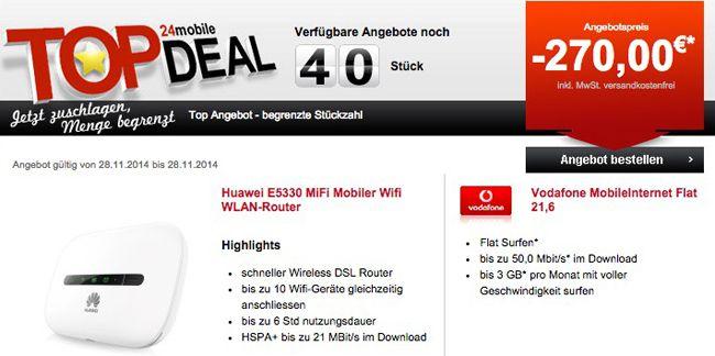 24mobile SCHNELL! Vodafone Mobile Internet Flat 21,6 mit 3GB Volumen für nur 3,74€ monatlich dank 270€ Auszahlung!