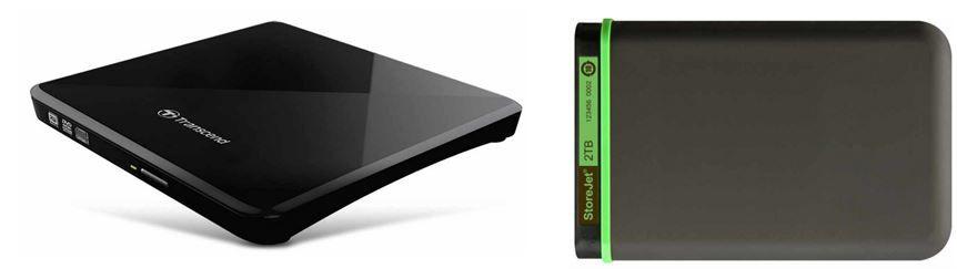 Transcend   2TB StoreJet M3 Festplatte für 94,90€   Transcend TS8XDVDS K externer Slim DVD 8x Brenner für 33,90€