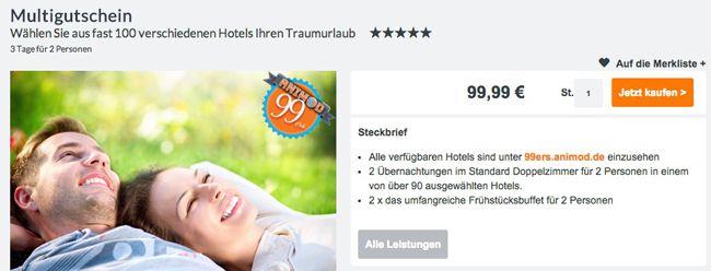 Animod TIPP! Hotelgutscheine ab 11:11 Uhr um 11€ günstiger   z.B. Multigutschein im Wert von 99,99€ für 88,99€