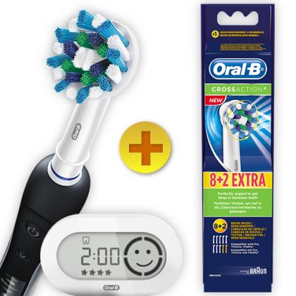 BLACK PRO 7000 Braun Oral B Black Pro 7000 Zahnbürste + 10 CrossAction Aufsteckbürsten für 119€