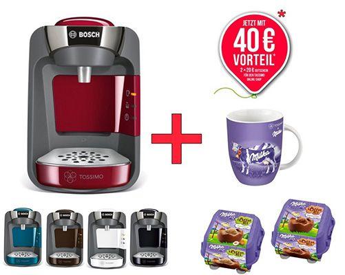 Bosch TAS3202 Tassimo Suny T32 + 40€ Gutschein + Milka Tasse & Leckereien für 45,99€