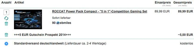 ROCCAT Power Pack Compact   5 in 1 Competition Gaming Set für 84,99€