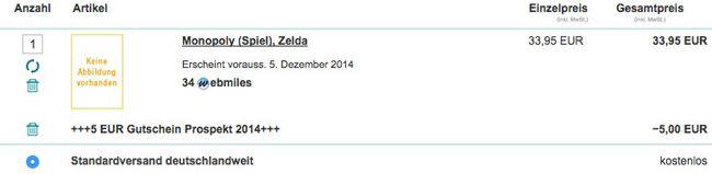 Buecher Warenkorb1 Monopoly Zelda für 28,95€ vorbestellen