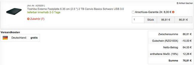Digitalo Warenkorb Toshiba Canvio Basics 2TB 2,5 Zoll USB 3.0 Festplatte für 76,81€