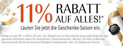 Douglas Nur heute 11% Rabatt auf (fast) ALLES bei Douglas   versandkostenfreie Lieferung ab 25€   Update