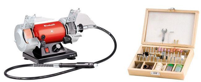 Einhell Doppelschleifer Einhell Doppelschleifer TH XG 75 Kit + 100 tlg Zubehör Set für 39,99€