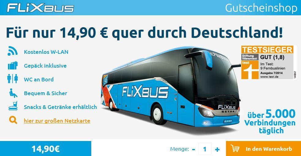 Flixbus Flixbus für nur 14,90€ quer durch Deutschland
