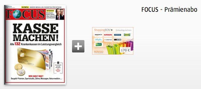 Focus1 Focus Jahresabo für effektiv 22,40€ dank 170€ Gutschein Prämie
