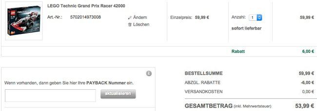 Galeria Warenkorb LEGO Technic Grand Prix Racer 42000 für 53,99€ (statt 79€)