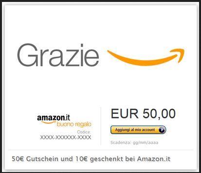 Tipp! 10€ Amazon.it Gutschein umsonst   beim Kauf eines 50€ Gutschein   Update!