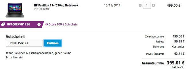 HP Warenkorb HP 17 f036ng   17 Zoll Full HD Notebook (2GHz, 4GB, 750GB, Windows 8.1) für 399€