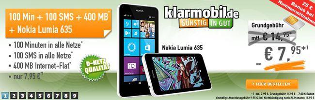 klarmobil Allnet Starter im D Netz (100 Minuten, 100 SMS, 400MB) + Nokia Lumia 635 für 8,41€ monatlich
