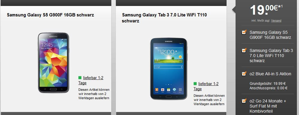 Samsung Galaxy S5 + Galaxy Tab 3 7.0 + o2 Blue All in S Allnet Flat ab 27€ monatl.   Update