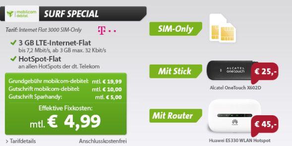 Internet Flat 3000 3GB LTE Internet Flat + Hotspot Flat im Telekom Netz für 4,99€monatlich