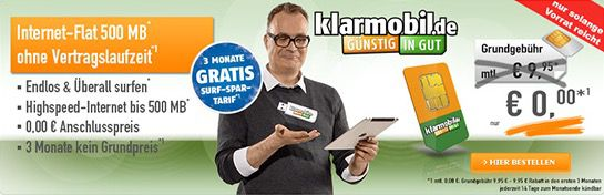 Klarmobil Surf Spar 500MB Internet Flat 3 Monate kostenlos   monatlich kündbar!