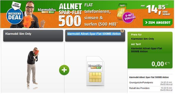 Klarmobil Telekom All Net + SMS Flat + 500MB für nur 14,85€ monatlich