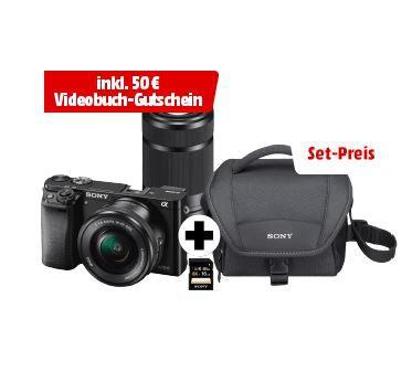 Sony Alpha 6000 Systemkamera mit 24 MP + 2 Objektiven + Zubehör + 50€ VideoBuch Gutschein für nur 749€