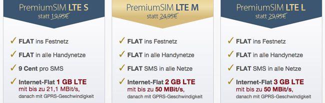 Flexible LTE Tarife bei PremiumSIM   z.B. Allnet Flat + 1GB LTE für 13,49€