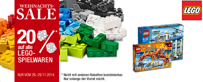 Lego Sale HOT! 20% auf LEGO Artikel bei Galeria Kaufhof + 10% Gutschein