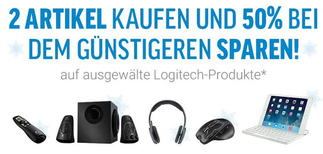 50% Rabatt auf ausgewählte Logitech Artikel   z.B. Logitech G930 + Logitech Z623 für 195,50€ statt 259€