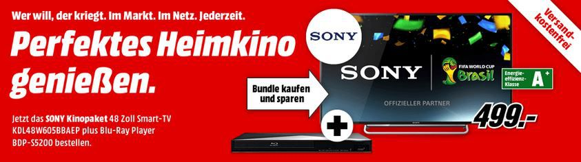 SONY KDL48W605BBAEP    48 Zoll smart TV + Sony Blu ray Player für 499€   Update