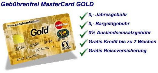 Dauerhaft gebührenfreie Mastercard Gold + 40€ Prämie   Update